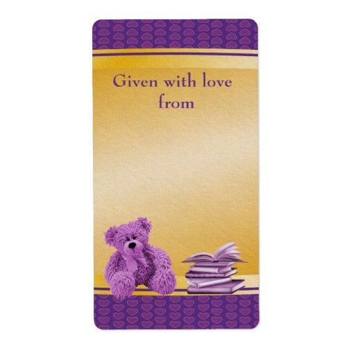 Purple Teddy Bring a Book Baby Shower Bookplates Custom Shipping Label