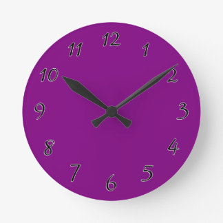 Purple template Customize with pictures and text Round Clock