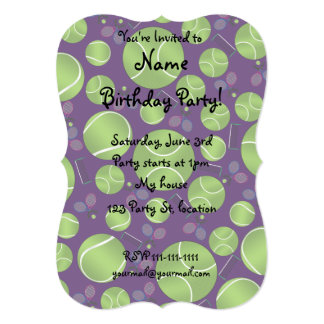 Purple tennis balls rackets and nets personalized announcement