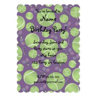 Purple tennis balls rackets and nets custom invite