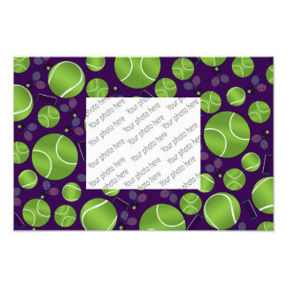 Purple tennis balls rackets and nets photographic print