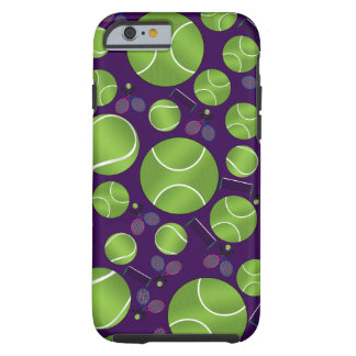 Purple tennis balls rackets and nets tough iPhone 6 case