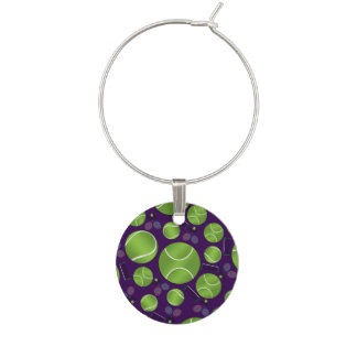 Purple tennis balls rackets and nets wine charm