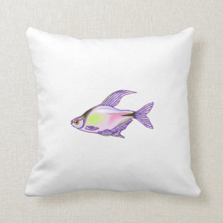 Purple Tetra Fish Throw Pillow