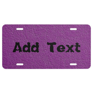 Purple texture license plate