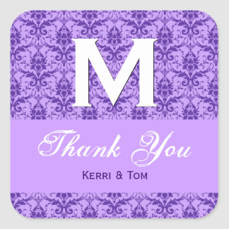 Purple Textured Look Damask Thank You Wedding R315 Square Sticker