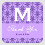 Purple Textured Look Damask Thank You Wedding R315 Sticker