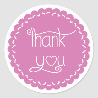 Purple Thank You Doily Lace Sticker Seal