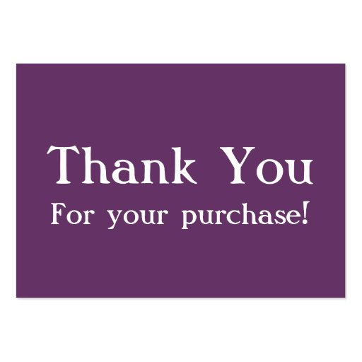 Purple Thank You For your Purchase Cards Business Cards