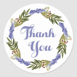Purple Thank You Lavender Watercolor Floral Wreath Classic Round Sticker