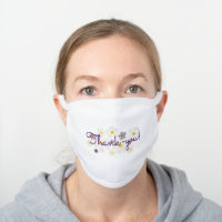 Purple Thank-you on Pale Cream and Purple Floral White Cotton Face Mask