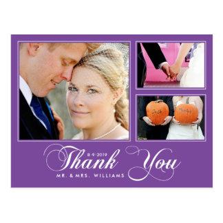 Purple Thank You Wedding 3 Photo Modern Postcard