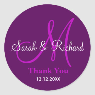 Purple Thank You Wedding Monogram Sticker