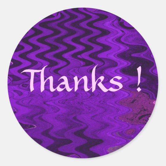 Purple Thanks ! Classic Round Sticker