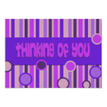 purple thinking of you 5x7 paper invitation card