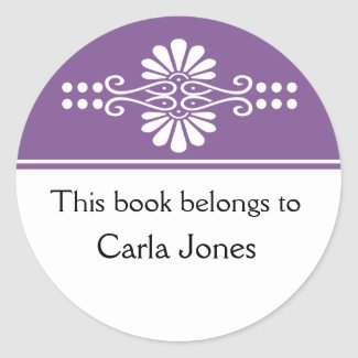 Purple This Book Belongs To Labels sticker