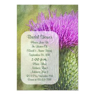 "Purple Thistle Art Flower Bridal Shower Invite 5"" X 7"" Invitation Card"