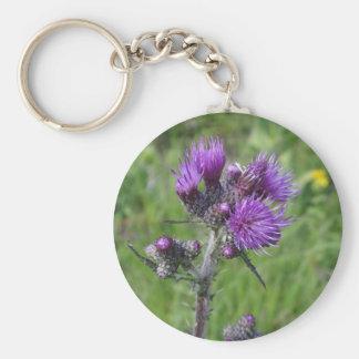 purple thistle basic round button keychain