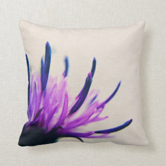 Purple Thistle Flower Petals Throw Pillow