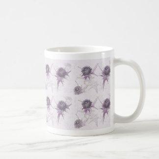 Purple thistle nature design coffee mug