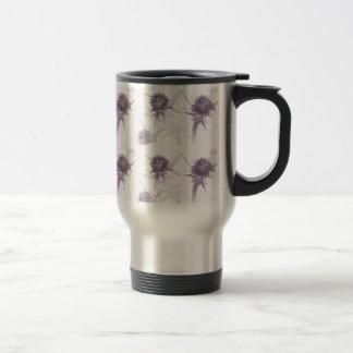 Purple thistle nature design travel mug