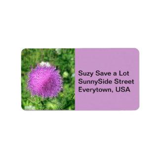 Purple Thistle Wildflower Label