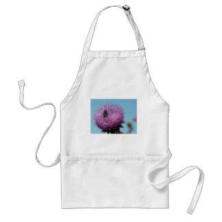 purple thistle with bee adult apron