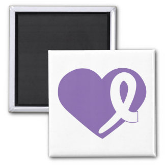 Purple Thyroid Cancer Heart ribbon square magnet