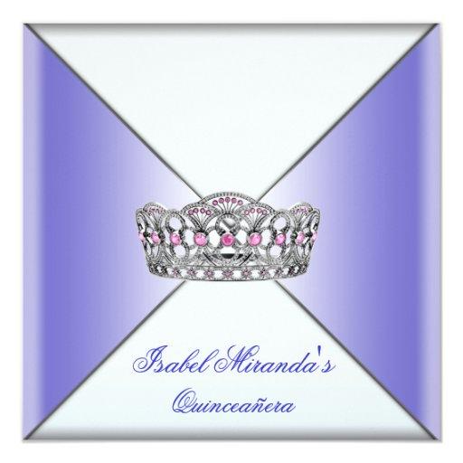 Purple Tiara Classy Purple Quinceanera 15th Party Invitation