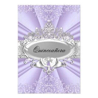 Purple Tiara Damask Quinceanera Invite Custom Invites