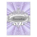 Purple Tiara & Damask Quinceanera Small Size 3.5x5 Paper Invitation Card