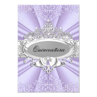 Purple Tiara & Damask Quinceanera Small Size Card