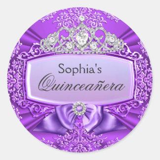 Purple Tiara & Damask Quinceanera Sticker