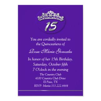 Purple Tiara Quinceañera Invitation