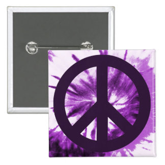 Purple Tie-Dye with Peace Symbol Pinback Button