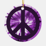 Purple Tie-Dye with Peace Symbol Double-Sided Ceramic Round Christmas Ornament