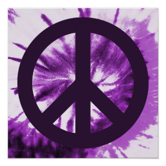 Purple Tie-Dye with Peace Symbol Poster