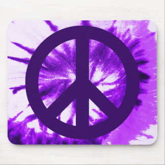 Purple Tie-dyed Peace Symbol Mouse Pad