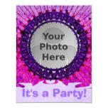 """Purple Tiedye Photo Invitations 4.25"""" X 5.5"""" Invitation Card"""
