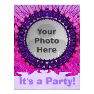 Purple Tiedye Photo Invitations