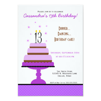 Purple Tiered Cake 13th Birthday Party Invitation