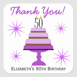Purple Tiered Cake 50th Birthday Favor Stickers