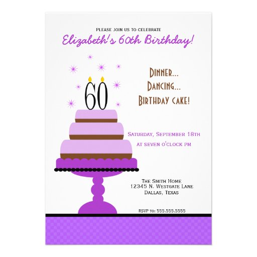 Purple Tiered Cake 60th Birthday Party Invitation