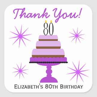 Purple Tiered Cake 80th Birthday Favor Stickers