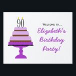 "Purple Tiered Cake 90th Birthday Party Sign<br><div class=""desc"">This 90th Birthday Purple Tiered Cake design is cute yet elegant. The design features a purple three-tiered birthday cake topped with black birthday candles in the shape of the number 90.