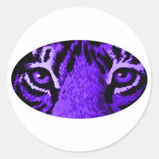 Purple Tiger Eyes jGibney The MUSEUM Zazzle Classic Round Sticker