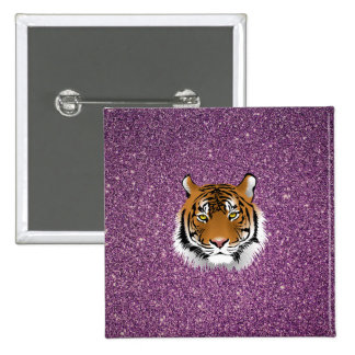 Purple Tiger with Glitter Background Button