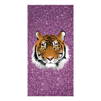 Purple Tiger with Glitter Background Card