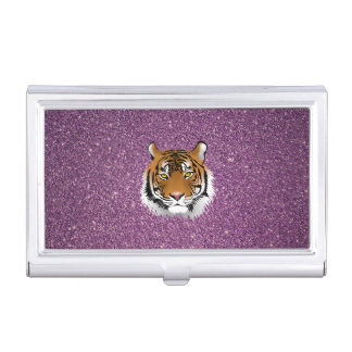 Purple Tiger with Glitter Background Case For Business Cards