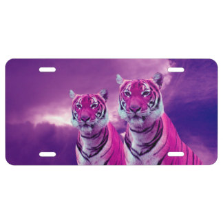 Purple Tigers License Plate
